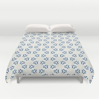 Acrylic Blue Pattern Circles Duvet Cover by Doucette Designs