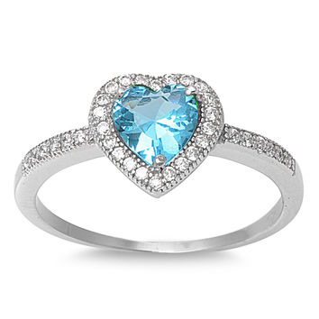 925 Sterling Silver CZ Embraced Heart Simulated Blue Topaz Ring 10MM