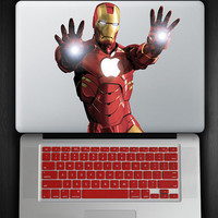 Red Keyboard Cover and Iron Man Hands Out Decal COMBO for Macbook Pro / Air 13""