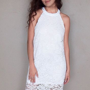 Secret Crush White Lace Halter Shift Dress