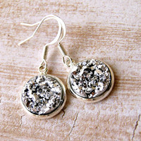 pop rox silver faux druzy drop earrings, dangle, french hook, drusy