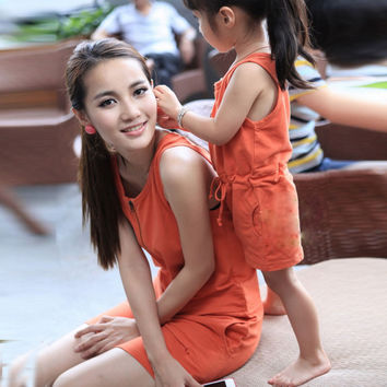 2016 New Fashion Matching Mother Daughter Clothes Summer Dresses Cotton O-Neck Princess Mom and Daughter Dress Vestidos Infantis