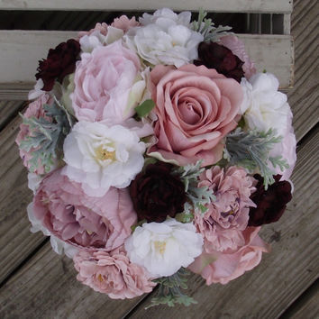 Wedding Flowers, Rustic Bouquet, Wedding Bouquet, Bridal Bouquet, Flowers hydrangea, mauve roses, mums, blush,  mint, dusty rose, Marsala