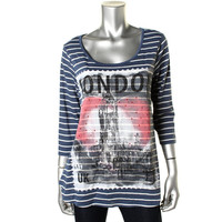 Style & Co. Womens Knit Graphic Blouse