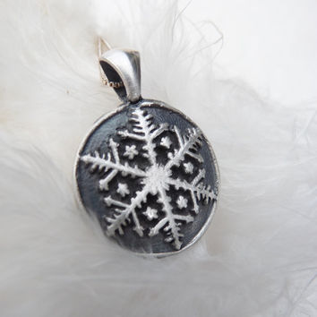 Snowflake Christmas winter necklace pendant made from recycled silver, custom made to order