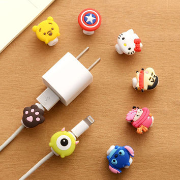 Lovely Cartoon Cable Protector USB Cable Winder Cover Case Shell For IPhone 5 5s 6 6s 7s plus cable Protect