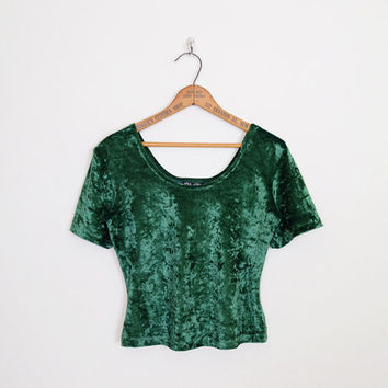 90s Crushed Velvet Top Green Velvet Shirt 90s Velvet Blouse Stretch Velvet Crop Top 90s Top 90s Shirt 90s Grunge Top Grunge Shirt M Medium