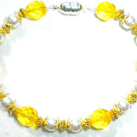 Darling Diva Yellow and White Bracelet