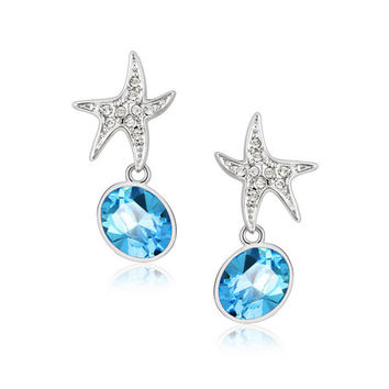 Platinum Plated Cubic Zirconia Star with Swarovski Elements Crystal Blue Earrings