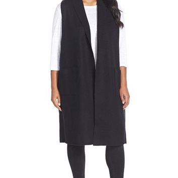 Plus Size Women's Eileen Fisher Boiled Wool Long Vest,