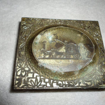 Japanese Pressed Brass Cedar Copper Horse and Buggy Cigarette Trinket Jewelry Box