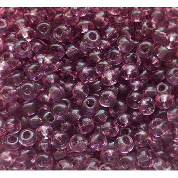 One pkg 24 grams transparent Light Amethyst, Purple Czech 6/0 glass seed beads, size 6 Preciosa Rocaille 4mm spacer beads, large, big hole C9324