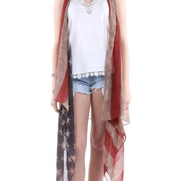 DISTRESSED AMERICAN FLAG VEST LONG