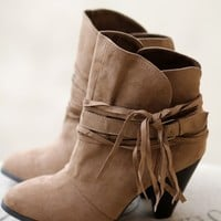 Walk My Way Heeled Booties (Taupe)