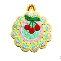 Colorful crochet potholder with Red cherries, Handmade potholder, Presina colorata con ciliegie