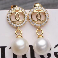 Chanel natural fresh water pearl earrings fashionable simple earrings accessories