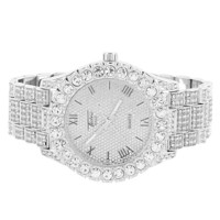 Iced Out Men's Silver Tone Solitaire Bezel Custom Watch