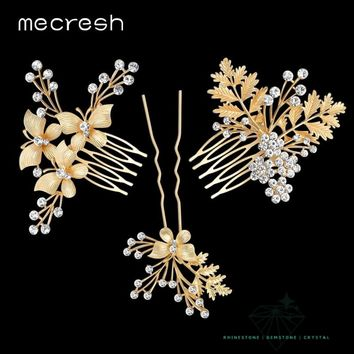Mecresh 3pcs/set Gold-Color Butterfly with Leaves Bridal Combs Crystal Flower Wedding Hair Accessories Tiara TS022