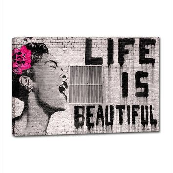 "Canvas Wall Art, Graffiti Art ""Life is Beautiful"" Banksy Artwork Wall Hanging Painting for Living Room Bedroom Wall Decorations"