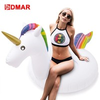 DMAR Inflatable Unicorn Swimming Ring Giant Pool Float Toys Water Mattress Lifebuoy Swimming Circle Kids Adult Beach Party Sea