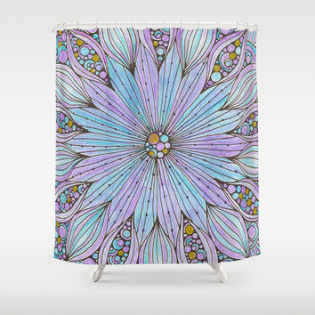 Hand Colored Purple Teal Gold Mandala Shower Curtain by DazzetteMarie