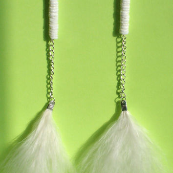 White Feather Earrings by StrictlyCute on Etsy