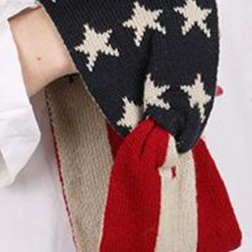 Set of 2 Winter KNIT PATRIOTIC PRINT AMERICAN FLAG  HAIR Headband Bandana  (2)
