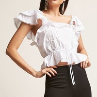 Lace Ruffle-Sleeve Woven Top