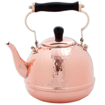 Solid Copper Hammered 2-quart Tea Kettle with Wood Handle