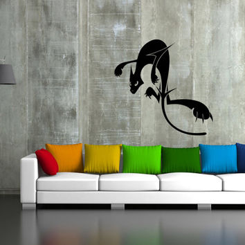ik45 Wall Decal Sticker Room Decor Wall Art Mural black cat jumping living room bedroom interior
