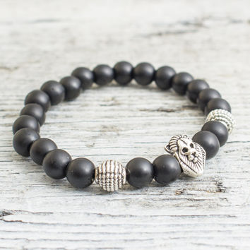 Matte black onyx stone beaded silver Lion head stretchy bracelet, made to order yoga bracelet, mens bracelet, womens bracelet