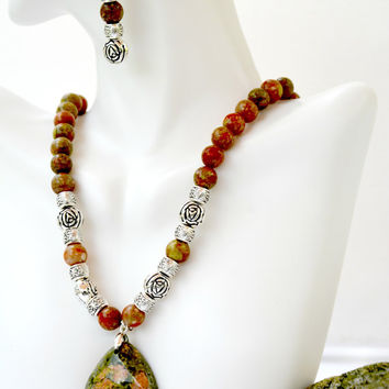 Snake Skin Jasper Necklace and Earring Set. Jasper. Necklace. Semiprecious Stones. Earrings. Dangle. Brown.Sterling Silver. Sets