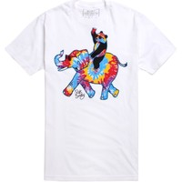 Riot Society Trippy Elephant Ride T-Shirt - Mens Tee - White -