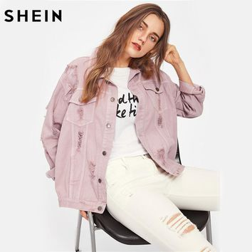 Trendy SHEIN Rips Detail Boyfriend Denim Jacket Autumn Womens Jackets and Coats Pink Lapel Single Breasted Casual Fall Jacket AT_94_13