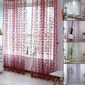 1 PC Floral Tulle Window Curtain New Chic Room  Door Balcony Lifting Sheer Valance Scarf Curtain Home Room Decoration