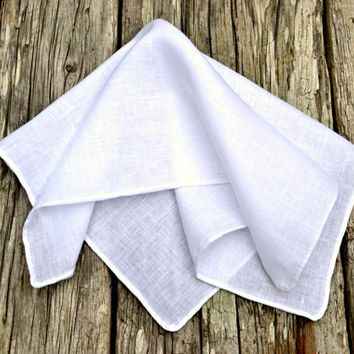 Hand Rolled Hem Pocket Square, White Linen Handkerchief, Irish Linen Handkerchief, White Pocket Square, Formal Pocket Square, Formal Hankie