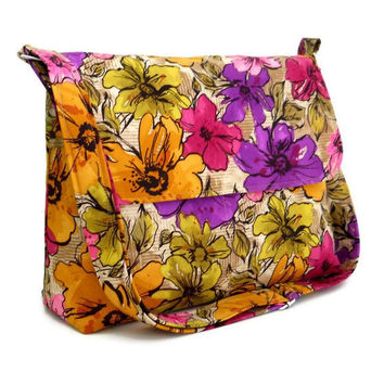 Messenger Bag Summer Bag - Purple Yellow and Pink Floral - Larger with 8 Pockets and Adjustable Strap