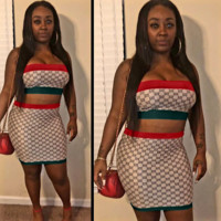 GUCCI Summer New Fashion More Letter Print Leisure Strapless Top And Skirt Two Piece Suit