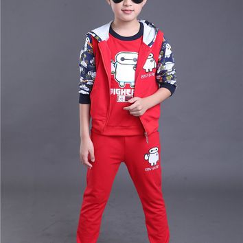 Children Boy Girl Clothing Set Boy Sports Suits 4-14 Years Kids 3pcs Sets