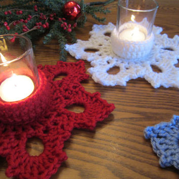Crochet Snowflake Candle Holder, Snowflake Tea Light Holder, Crochet Votive Holder by CROriginals