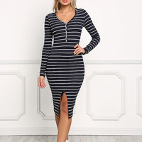 Navy Hooded Stripe Front Slit Dress