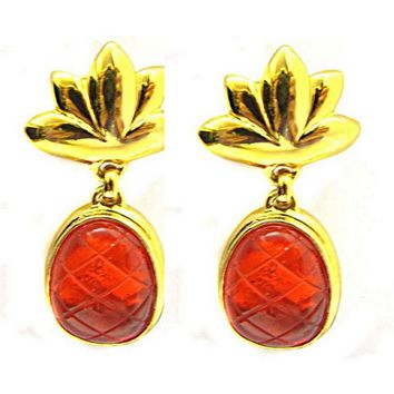Vintage resin and CELINE earrings, gold-plated