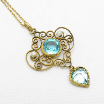 Edwardian Heart Pendant Pearl Blue Glass Antique Jewelry N7214