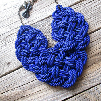 Electric Blue Rope necklace Statement rope necklace Rope knot necklace