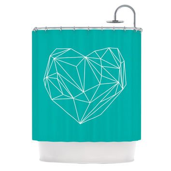"""Mareike Boehmer """"Heart Graphic Turquoise"""" Teal Abstract Shower Curtain"""