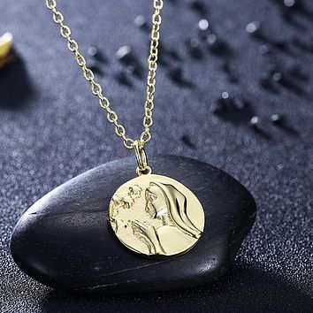 Greek Goddess Coin Necklace in 18K Gold Plated