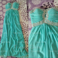 Custom Made A-line Strapless Chiffon Long Prom Dresses, Green Prom Dress, Dress For Prom, Formal Dresses