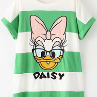 Green and White Striped Cartoon Character Print T-Shirt