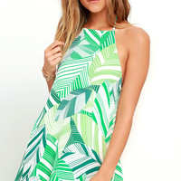 Photosynthesis Statement Green Print Halter Dress