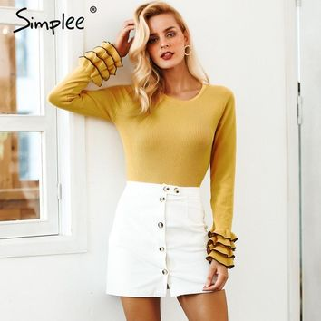 Ruffled Butterfly Sleeve Elegant Pullover Sweater